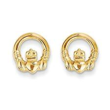 Madi K 14k Yellow Gold Polished Irish Claddagh Post Stud Earrings