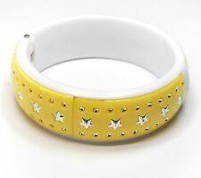 NEU 19cm ARMREIF mit STERNE in gelb-silber-weiß ARMSPANGE Stern STERNEN Armband