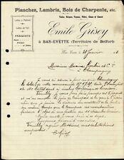 █ Facture Emile GRISEY à Bas-Evette (Territoire de Belfort) Scierie Menuiserie █