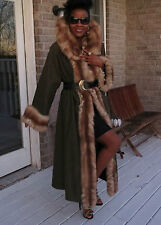 Mint 2 yrs young Huge Collar full length Stone marten Sable Fur trim Coat M 6-12
