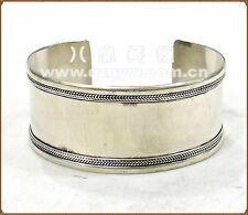 Huge Tibetan White Copper Multi-Weaving Plain Surface Amulet Cuff Bracelet