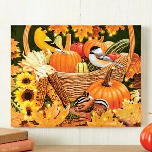 LED Lighted Thanksgiving Harvest Basket Hanging Home Wall Canvas