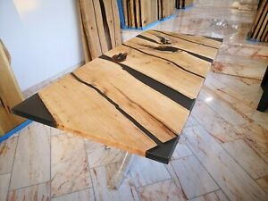 Eiche Esstisch Massiv Echtholzplatte Epoxidharz Loft Design