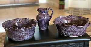 """3 Pieces Mcneills Pottery Seagrove NC- 10"""" Bowl, 9"""" Cake Pan & 6"""" Pitcher Purple"""