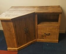SOLID WOOD RUSTIC CHUNKY CORNER TV UNIT WITH CUPBOARD AND DRAWER MADE TO MEASURE