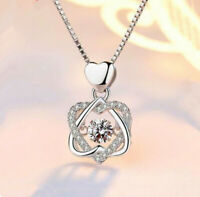 Heart Twisted Crystal Pendant 925 Sterling Silver Necklace Womens Jewellery Gift