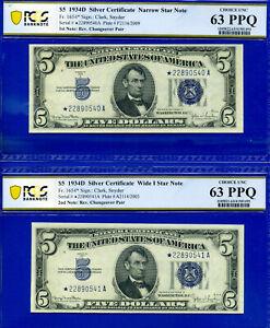 Rare 1934-D $5 S/C (( Narrow / Wide 1 - Reverse CHANGEOVER - STAR )) PCGS 63PPQ-
