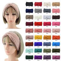 Women Ladies Winter Wool Cross Crochet Knitted Wool Headband Hair Band Soft Warm
