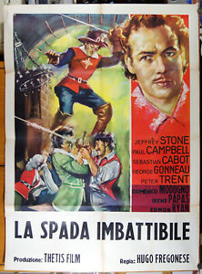 manifesto 2F film LA SPADA IMBATTIBILE Jeffrey Stone Domenico Modugno 1957