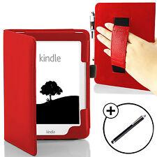 COVER Custodia in pelle rosso portafoglio con cinghia da polso per Amazon Kindle 2016 STILO gratuito