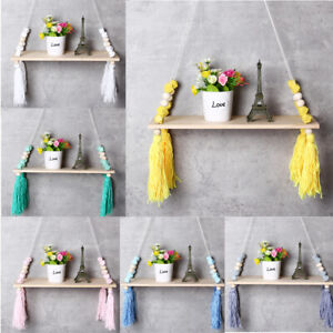 Wall Hanging Swing Shelf Shelves Baby Kids Room Storage Holder Wood Rope