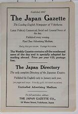 1914 Japon Japonais Tourist Annonce Gazette Yokohama Japon Annuaire