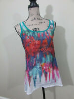 Bisou Bisou Womens Tank Top Small Sheer Floral Green