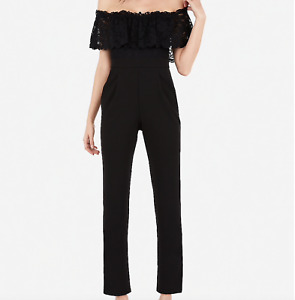 NEW NWT $88 Black Stretch Express lace off shoulder jumpsuit In Black Size 4