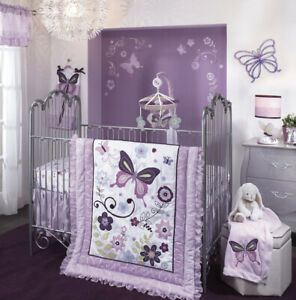 Lambs & Ivy Butterfly Lane 5 Piece Crib Set Comforter Dust Ruffle Valance Sheet
