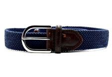 "Lauren Ralph Lauren Mens Fabric and Leather Stretch Belt Blue Size S (30"")"