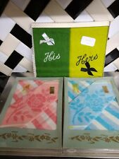 Vintage retro Hand Towels face cloth His and Hers Gift In original Boxes leeona
