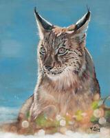 "Original Artwork oil painting lynx portrait on canvas panel, wildlife 8x10"""