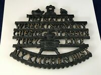 Vintage Wilton Cast Iron Hot Plate Wall Art Kitchen Chef's Sign No Matter Where