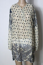 CHILLI  Bluse Gr. 38 beige-schwarz Chiffon Muster Bluse/Tunika