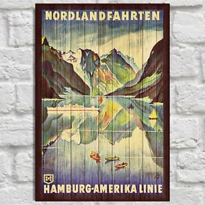 Vintage Norway Travel poster Norwegian Retro art print Panel effect Wood art