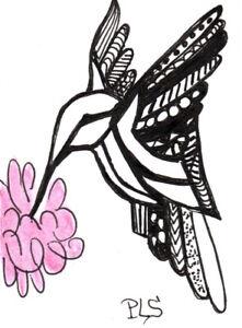 ACEO/ATC  Hummingbird & Flower Zen Doodle Tangle Design Abstract Penny StewArt