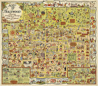 1921 Whimsical Pictorial Map of Hollywood Wall Poster Historical Scenes Streets