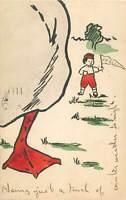 Boston 1906 postcard W.M. Beach Co Roxbury caricature boy with banner goose foot