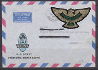 LETTRE SIERRA LEONE TIMBRE AUTOADHESIF AIGLE OR LAND IRON DIAMONDS AIR MAIL 1968