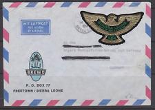 LETTRE SIERRA LEONE TIMBRE AUTOADHESIF AIGLE OR LAND IRON DIAMONDS AIR MAIL 1968
