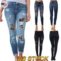 US Women Fashion Skinny Plaid Ripped Patch Jeans Leggings Skinny Pants Trousers