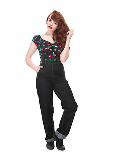Collectif Siobhan High Waisted Wide Leg 40s 50s Rockabilly Vintage Jeans Black