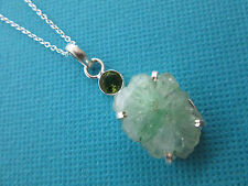 925 Silver Pendant With Natural Green Druzy Agate And Green Amethyst  (nk1534)