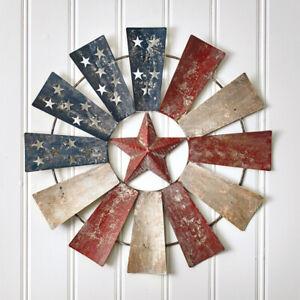 American Flag Windmill Farmhouse Wall Decor