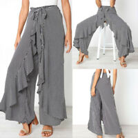 Womens Casual Striped Wide Leg Culottes Trousers High Waist Loose Long Pants AB