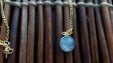 Empowering Jewelry Deep Blue Druzy Agate Round Gold Tone Alloy Necklace Bijoux