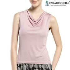 Pure Silk Knit Women'S Cowl Neck Tank Top