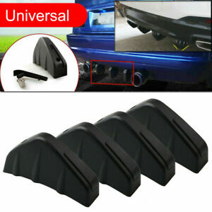 Universal Black Rear Bumper 4 Shark Fins Spoiler Wing Lip Diffuser Modified Kits