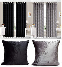 Eyelet Ring Top Crushed Velvet Long Ready Made fully Lined Designer Curtains