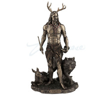 Herne The Hunter Sculpture With Deer And Wolf Celtic Statue Figurine
