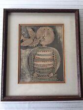Graciela Rodo Boulanger Signed Origianl Etching Print, Child with Bird, Framed