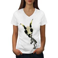 Wellcoda Rabbit Face Death Womens V-Neck T-shirt, Costume Graphic Design Tee