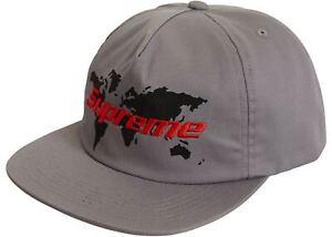 BRAND NEW SS19 SUPREME WORLD 5 PANEL HAT CAP GREY SNAPBACK