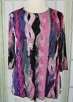 Vintage Jostar size XL blouse purple pink 3/4 sleeve boat neck tunic top
