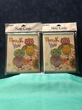 Thank You Note Cards With Owls 2 Pack Lot