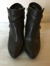Guess Women Ankle Leather Boots Size 6M Dark Brown Color