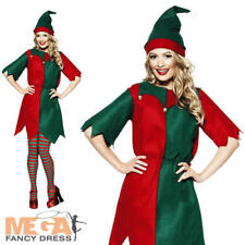 Ladies Elf Costume Plus Hat Christmas Santas Helper Fancy Dress Smiffys 21474 L - Large