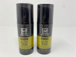 2 Bottles Of M Skin Care Mens All Day Face Serum Replenish 1 FL Oz Facial Beauty