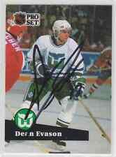 Autographed 91/92 Pro Set Dean Evason - Whalers