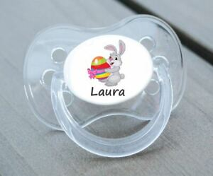 PERSONALISED DUMMY PACIFIER SOOTHER, ALL TEATS,SIZES & COLOURS, EASTER BUNNY 2